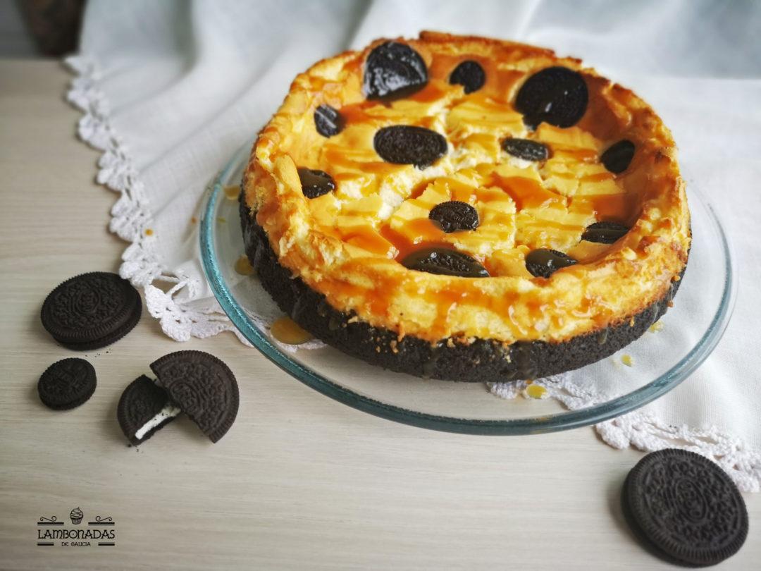 cheesecake oreo con caramelo salado