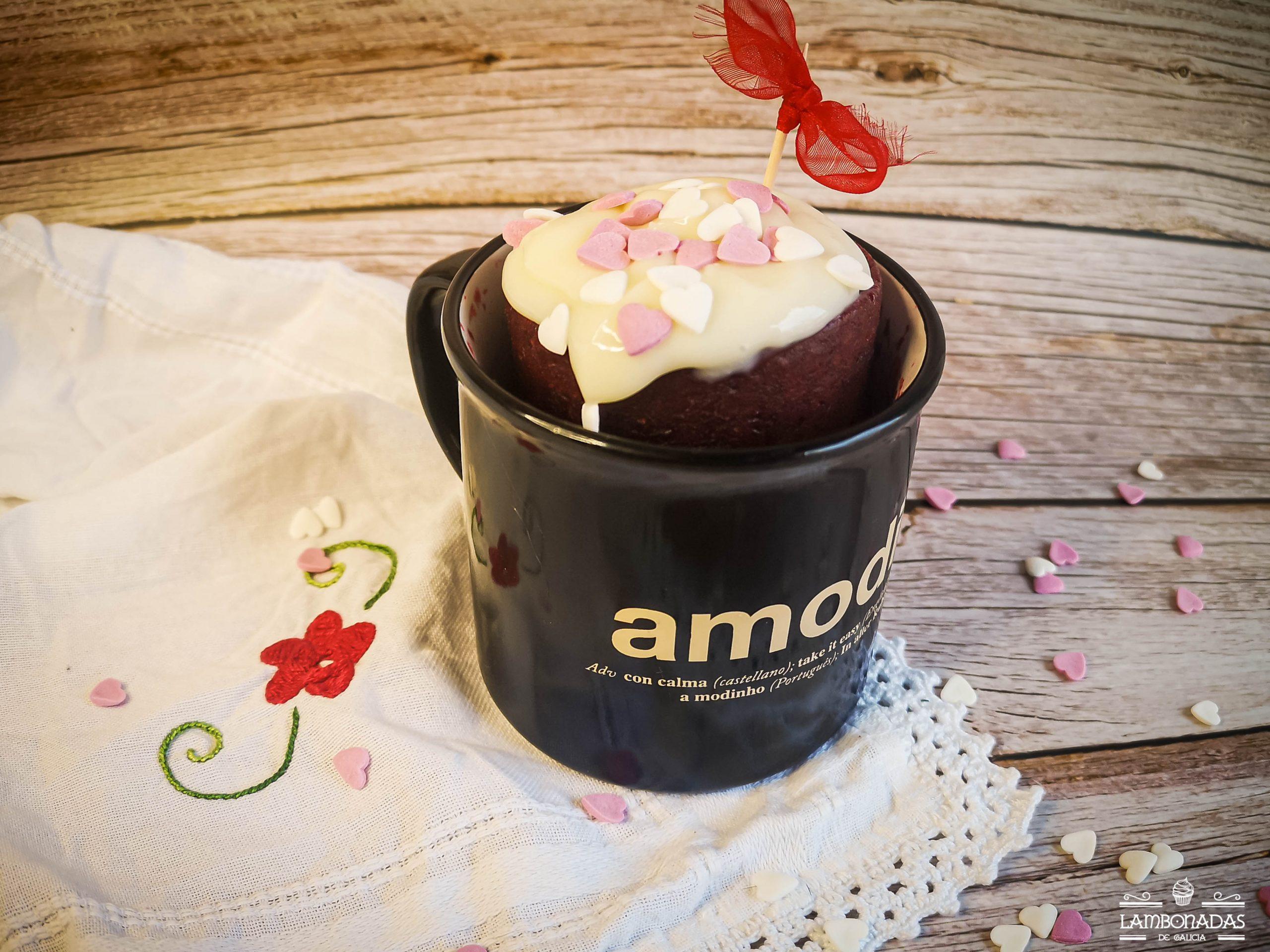 mug cake red velvet para sal valentin
