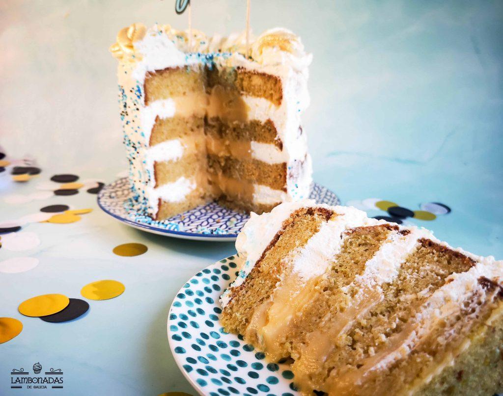 tarta de nata y crema pastelera